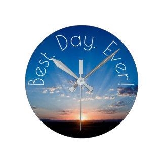 New Day Dawning Sunrise Round Clock