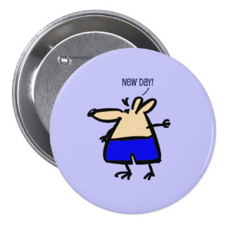 New Day fun Mouse on blue b/g badge 3 Inch Round Button