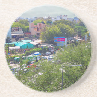 New Delhi India Traffic views from Metro Railways Drink Coasters