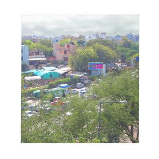 New Delhi India Traffic views from Metro Railways Notepad