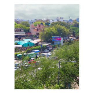 New Delhi India Traffic views from Metro Railways Postcard