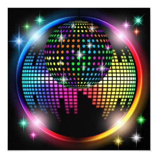 """New DISCO Party / New Years Eve 5.25"""" Square Invitation Card"""
