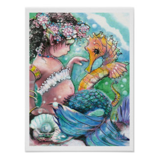New Discoveries , Mermaid and Seahorse Poster