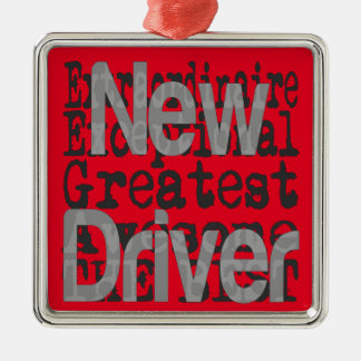 New Driver Extraordinaire Silver-Colored Square Ornament