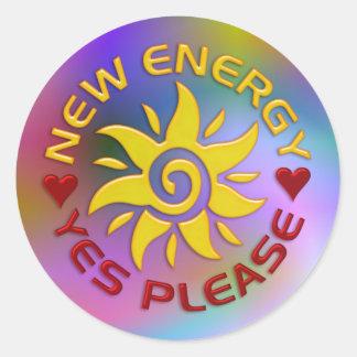 NEW ENERGY SUN   light coloured Classic Round Sticker