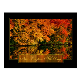 New England Autumn Wedding Invitation Postcard
