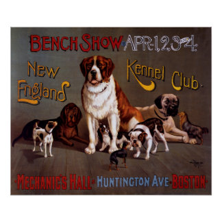 New England Kennel Club Bench Show Vintage Poster