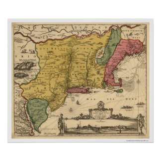 New England Regional Map - 1685 Poster