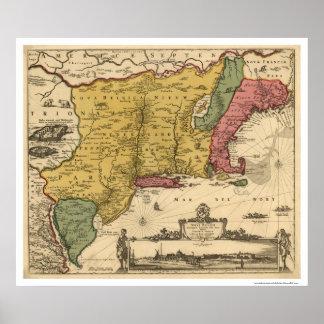 New England Regional Map - 1685 Print