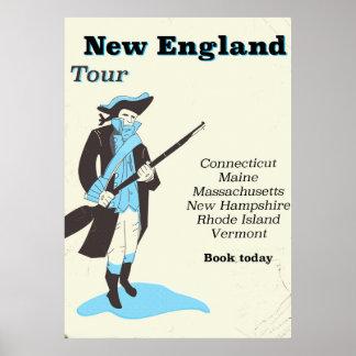 New england Tour vintage travel poster