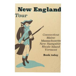 New england Tour vintage travel poster Wood Print