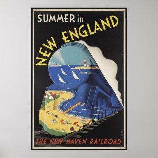 New England Vintage Travel Poster Ad Retro Prints