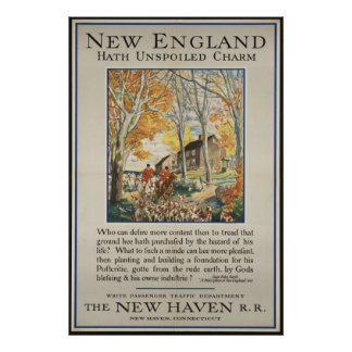 New England Vintage Travel Poster Ad Retro Prints