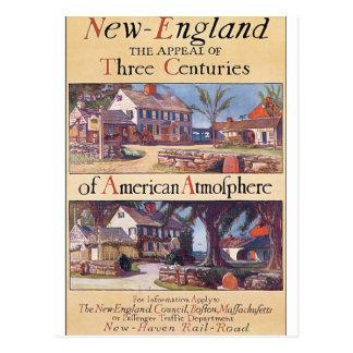 New England Vintage Travel Poster Artwork Postcard