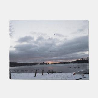 New England Winter Lake Scene Doormat