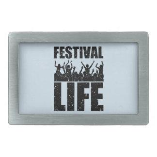 New FESTIVAL LIFE (blk) Rectangular Belt Buckle