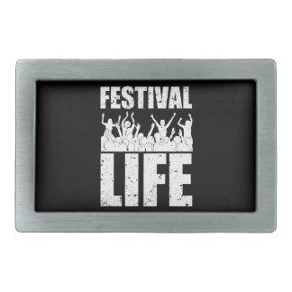 New FESTIVAL LIFE (wht) Rectangular Belt Buckle