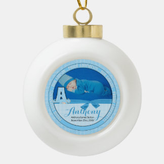 New Godparents Blue Gingham Baby Monogram A Ceramic Ball Ornament