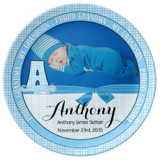 "New Grandma Letter ""A"" Blue Check Baby Photo Plate"