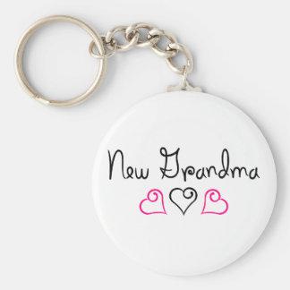 New Grandma Pink Black Hearts Keychain