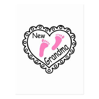 New Grandma Pink Heart Postcard