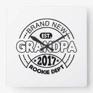 New Grandpa 2017 Square Wall Clock