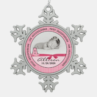 New Grandparents of Baby Girl Monogoram A Pewter Snowflake Ornament