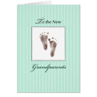 New Grandparents of Baby, Neutral Green Footprints Card