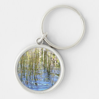 New grass breaking through ice at Mirror Lake Silver-Colored Round Keychain