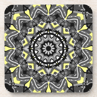New Gray and Yellow Plaid Kaleidoscope Beverage Coaster