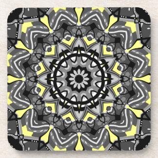 New Gray and Yellow Plaid Kaleidoscope Coaster