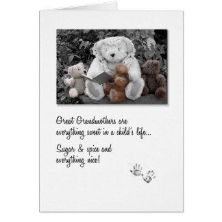 New Great Grandma Teddy Bear Storytime Greeting Card