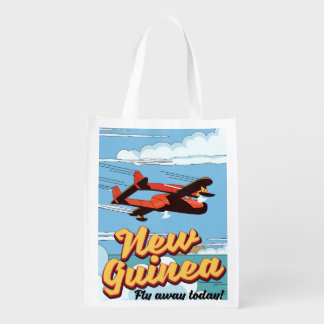 New Guinea adventure poster. Reusable Grocery Bag