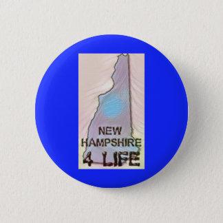 """New Hampshire 4 Life"" State Map Pride Design 2 Inch Round Button"