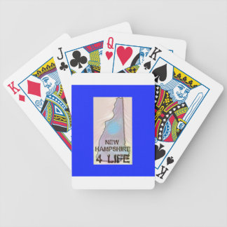 """""""New Hampshire 4 Life"""" State Map Pride Design Bicycle Playing Cards"""
