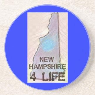 """New Hampshire 4 Life"" State Map Pride Design Coaster"