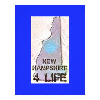 """New Hampshire 4 Life"" State Map Pride Design Customized Letterhead"