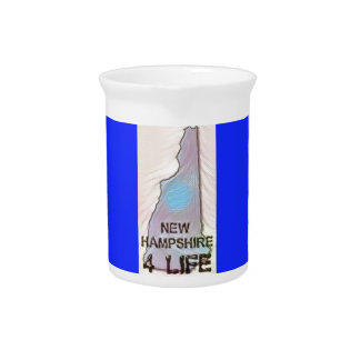 """""""New Hampshire 4 Life"""" State Map Pride Design Pitcher"""