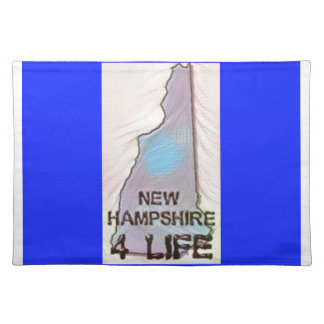 """New Hampshire 4 Life"" State Map Pride Design Placemat"
