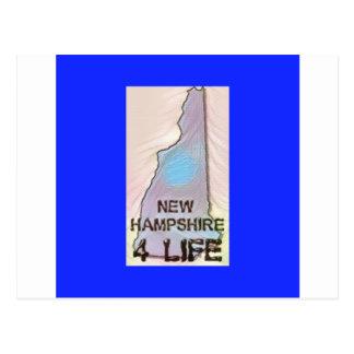 """New Hampshire 4 Life"" State Map Pride Design Postcard"