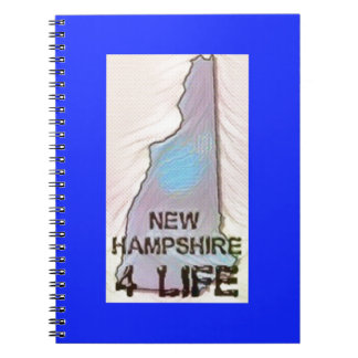 """""""New Hampshire 4 Life"""" State Map Pride Design Spiral Notebook"""