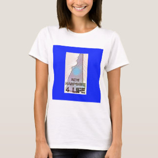 """""""New Hampshire 4 Life"""" State Map Pride Design T-Shirt"""