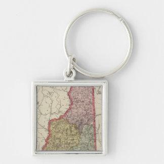 New Hampshire 5 Silver-Colored Square Keychain
