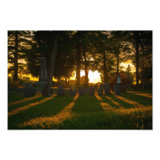 New Hampshire Cemetery at Sunset Photographic Print