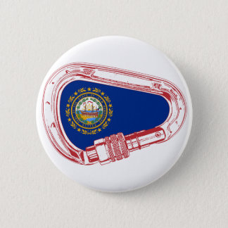 New Hampshire Flag Climbing Carabiner 2 Inch Round Button