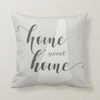 New Hampshire - Home Sweet Home burlap-look Throw Pillow