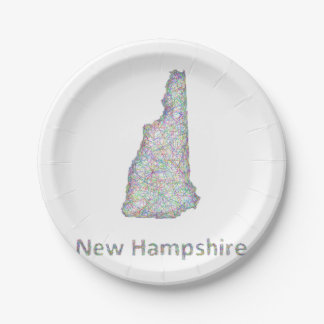 New Hampshire map 7 Inch Paper Plate