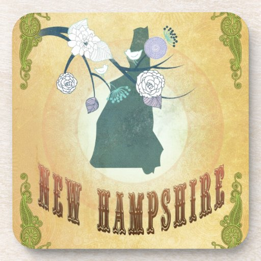 New Hampshire Map With Lovely Birds Coasters