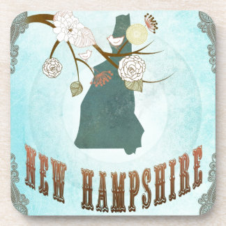 New Hampshire Map With Lovely Birds Drink Coasters
