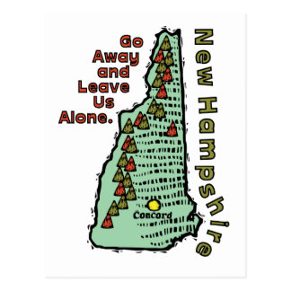 New Hampshire NH Motto ~ Go Away & Leave Us Alone Postcard